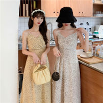 Dress Summer 2021 White, pink, blue, yellow Average size longuette singleton  Sleeveless commute V-neck High waist Broken flowers Socket A-line skirt other camisole 18-24 years old Type A Korean version 31% (inclusive) - 50% (inclusive)