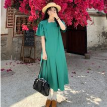 Dress Summer 2021 White, green, blue Average size longuette singleton  Short sleeve commute square neck High waist Solid color Socket puff sleeve Others 18-24 years old Type H Korean version 31% (inclusive) - 50% (inclusive)