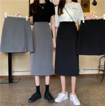 skirt Summer 2021 S,M,L Versatile black long, versatile black short, starry grey long, starry grey short Mid length dress commute High waist A-line skirt Solid color Type A 18-24 years old 31% (inclusive) - 50% (inclusive) other Button Korean version