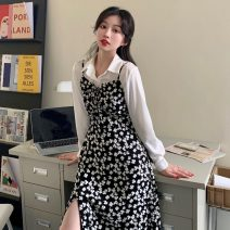 Dress Spring 2021 Floral suspender skirt, white shirt S. M, average size Mid length dress singleton  Sleeveless commute V-neck High waist Broken flowers Big swing camisole 18-24 years old Type A Korean version 51% (inclusive) - 70% (inclusive) other