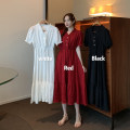 Dress Spring 2021 White, red, black Average size longuette singleton  Short sleeve commute V-neck Elastic waist Solid color Three buttons Big swing puff sleeve Others 18-24 years old Type H Korean version 51% (inclusive) - 70% (inclusive)