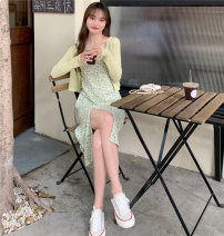 Dress Summer 2021 White cardigan, green cardigan, pink cardigan, orange cardigan, blue cardigan, green suspender skirt, blue suspender skirt, pink suspender skirt, orange suspender skirt, purple suspender skirt Average size Middle-skirt Two piece set Sleeveless commute other High waist Broken flowers