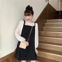 Dress Spring 2021 Blue shirt, apricot shirt, blue suspender skirt, black suspender skirt Average size commute other other other other other 18-24 years old Other / other Korean version 31% (inclusive) - 50% (inclusive) other other