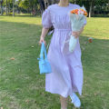 Dress Spring 2021 White, purple Average size Mid length dress singleton  Short sleeve commute Crew neck Elastic waist Solid color Socket Big swing 18-24 years old Korean version 51% (inclusive) - 70% (inclusive) other other