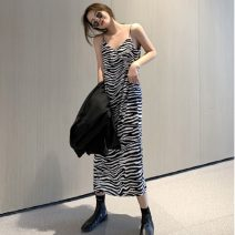 Dress Spring 2021 Picture color Average size longuette singleton  Sleeveless commute V-neck Loose waist Socket One pace skirt other camisole 18-24 years old Type H Korean version 51% (inclusive) - 70% (inclusive) other polyester fiber