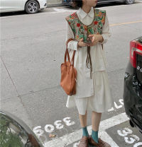 Dress Spring 2021 Vest, shirt and skirt Average size Mid length dress Two piece set Long sleeves commute Polo collar Solid color Irregular skirt shirt sleeve 18-24 years old Korean version 31% (inclusive) - 50% (inclusive)