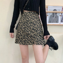 skirt Autumn 2020 S,M,L Short skirt commute High waist A-line skirt Leopard Print Type A 18-24 years old 31% (inclusive) - 50% (inclusive) other cotton Korean version