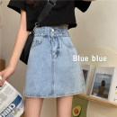 skirt Summer 2020 S,M,L,XL blue Short skirt commute High waist A-line skirt Solid color Type A 18-24 years old 31% (inclusive) - 50% (inclusive) Korean version