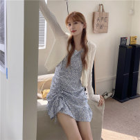 Dress Summer 2021 White cardigan, yellow floral skirt, blue floral skirt, red floral skirt M. L, average size Short skirt Two piece set Sleeveless commute V-neck Solid color Socket Irregular skirt other camisole 18-24 years old Type A Korean version 51% (inclusive) - 70% (inclusive)