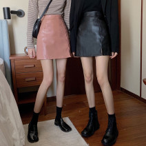 skirt Winter of 2019 S,M,L,XL Pink, yellow, black Short skirt commute High waist A-line skirt Solid color Type A 18-24 years old 30% and below Other / other PU Korean version