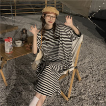 Dress Summer 2021 stripe Average size Mid length dress commute Crew neck 18-24 years old Other / other Korean version 51% (inclusive) - 70% (inclusive) other other