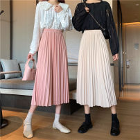 skirt Winter 2020 Average size Apricot, pink, black, light blue, green, brown Mid length dress commute High waist Pleated skirt Solid color 18-24 years old 31% (inclusive) - 50% (inclusive) other Other / other other Korean version