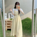 Dress Summer 2021 Apricot, white, green, yellow, black Average size Mid length dress singleton  Short sleeve commute V-neck Elastic waist Solid color Socket Big swing camisole 18-24 years old Type A Korean version 31% (inclusive) - 50% (inclusive)