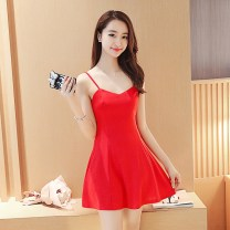 Dress Spring of 2018 S M L XL XXL Short skirt singleton  Sleeveless commute One word collar middle-waisted Solid color zipper A-line skirt routine camisole 18-24 years old Type A Shu Yu Korean version Open back zipper with ruffles More than 95% brocade polyester fiber Other polyester 95% 5%
