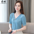 Lace / Chiffon Summer 2021 8819 blue 8819 white S M L XL 2XL Short sleeve commute Socket singleton  Self cultivation Regular V-neck Solid color routine 25-29 years old Juanyan Auricularia auricula beads lady Other 100% Pure e-commerce (online only)