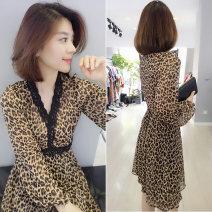 Dress Autumn 2020 Leopard Dress Black Coat S M L XL Mid length dress singleton  Long sleeves commute V-neck Loose waist Leopard Print bishop sleeve 30-34 years old bobowaltz Korean version B183k05495p 81% (inclusive) - 90% (inclusive) polyester fiber Pure e-commerce (online only)