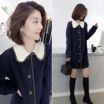 Dress Spring 2020 navy blue S M L Mid length dress singleton  Long sleeves street Doll Collar High waist other other other other Others 30-34 years old bobowaltz BA201v00017p0173 81% (inclusive) - 90% (inclusive) polyester fiber Polyester 85% polyamide 15% Pure e-commerce (online only)