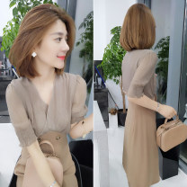 Dress Summer of 2019 khaki S M L Mid length dress singleton  Short sleeve commute V-neck High waist other Socket other other Others 30-34 years old bobowaltz B192y06445p 81% (inclusive) - 90% (inclusive) polyester fiber Polyester 85% polyamide 15% Pure e-commerce (online only)
