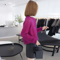 Wool knitwear Spring 2021 S M L Long sleeves singleton  Socket nylon 30% and below Regular routine Sweet easy Low crew neck routine Solid color Socket 30-34 years old bobowaltz Polyester 85% polyamide 15% Pure e-commerce (online only) princess