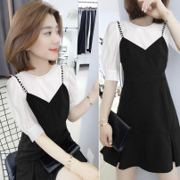 Dress Spring 2021 black S M L XL Mid length dress singleton  Short sleeve street Crew neck High waist Solid color routine Others 30-34 years old bobowaltz BA202v01780p More than 95% polyester fiber Polyester 96.5% polyurethane elastic fiber (spandex) 3.5% Pure e-commerce (online only)