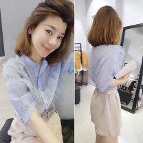 shirt White pink light blue S M L XL Summer of 2019 polyester fiber 96% and above Short sleeve Sweet Regular square neck other routine Solid color 30-34 years old Self cultivation bobowaltz Polyester 100% Pure e-commerce (online only) princess