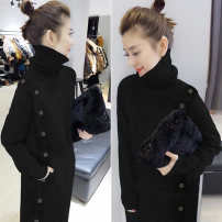 Dress Autumn of 2019 black S M L Mid length dress singleton  Long sleeves commute High collar Loose waist Solid color Socket other other Others 30-34 years old Type H bobowaltz Korean version B184k09512p013 81% (inclusive) - 90% (inclusive) other polyester fiber Polyester 85% polyamide 15%