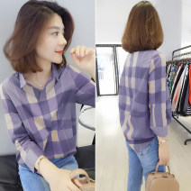 shirt Purple grey S M L XL Spring 2021 polyester fiber 96% and above Long sleeves street Regular Polo collar Single row multi button routine lattice 30-34 years old bobowaltz B183k05916p1180 Polyester 100% Pure e-commerce (online only) Europe and America