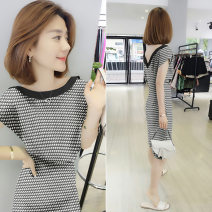Dress Summer of 2019 black S M L XL Mid length dress singleton  Short sleeve commute other High waist stripe Socket other other Others 30-34 years old bobowaltz B192y05075p0130 More than 95% other polyester fiber Polyester 100% Pure e-commerce (online only)