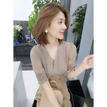 Dress Summer of 2019 khaki S M L Mid length dress Fake two pieces Short sleeve commute V-neck High waist other Socket other routine Others 30-34 years old bobowaltz Korean version B192y06445p0153 81% (inclusive) - 90% (inclusive) other polyester fiber Polyester 85% polyamide 15%