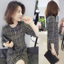 Dress Autumn of 2019 Color matching S M L XL Mid length dress singleton  elbow sleeve commute Crew neck Loose waist lattice Socket other routine Others 30-34 years old bobowaltz Korean version 51% (inclusive) - 70% (inclusive) other polyester fiber Pure e-commerce (online only)