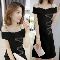 Dress Summer 2021 black S M L XL Mid length dress singleton  Short sleeve commute One word collar High waist Solid color Socket other other Others 30-34 years old bobowaltz Korean version B192y06148p0130 81% (inclusive) - 90% (inclusive) other polyester fiber Polyester 85% polyamide 15%