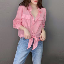 shirt Pink S M L XL Spring 2021 polyester fiber 81% (inclusive) - 90% (inclusive) Long sleeves street Regular square neck Single row multi button routine Solid color 30-34 years old Straight cylinder bobowaltz BB202v10916p1142 Polyester 85% polyamide 15% Pure e-commerce (online only)