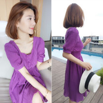 Dress Summer of 2019 violet S M L Mid length dress singleton  Short sleeve commute other High waist Solid color Socket other other Others 30-34 years old bobowaltz B192y05016p0180 81% (inclusive) - 90% (inclusive) other polyester fiber Polyester 85% polyamide 15% Pure e-commerce (online only)