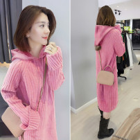 Dress Spring 2021 S M L Mid length dress singleton  Long sleeves commute Hood Loose waist Solid color other other routine 30-34 years old bobowaltz Korean version 81% (inclusive) - 90% (inclusive) other acrylic fibres Polyacrylonitrile 85% polyamide 15% Pure e-commerce (online only)