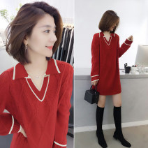 sweater Spring 2021 S M L gules Long sleeves Socket singleton  Medium length polyester fiber 81% (inclusive) - 90% (inclusive) Regular street routine 30-34 years old bobowaltz Polyester 85% polyamide 15% Pure e-commerce (online only)