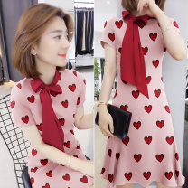 Dress Summer of 2019 A pink B 03829 red S M L XL Mid length dress singleton  Short sleeve Sweet other High waist other Socket other other Others 30-34 years old bobowaltz B192y04485p0142 81% (inclusive) - 90% (inclusive) other polyester fiber Polyester 85% polyamide 15% Pure e-commerce (online only)