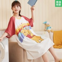 Nightdress Dai song Sweet Short sleeve Middle-skirt pajamas Dot summer youth Crew neck cotton printing More than 95% AM 11594 Spring 2021 Cotton 100% Pure e-commerce (online sales only) M L XL XXL