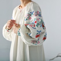 Dress Autumn of 2019 Beige M, l Mid length dress singleton  Long sleeves Sweet Crew neck Decor A button Big swing Type H