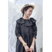 Dress Summer 2020 Black, ginger, beige, pink purple M, l Middle-skirt Sweet Lotus leaf collar hemp
