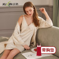 Pajamas / housewear set female Xuan Liang Polyester (polyester) Long sleeves Simplicity pajamas summer Thin money V-neck Solid color Socket youth 2 pieces More than 95% South Korea silk bow Polyester 96.5% polyurethane elastic fiber (spandex) 3.5% Summer 2020 Middle-skirt