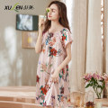 Nightdress Xuan Liang M L XL 2XL 3XL sexy Short sleeve pajamas Middle-skirt summer Plants and flowers youth square neck Polyester (polyester) printing 81% (inclusive) - 95% (inclusive) Iced silk Summer 2020 Polyester 96.5% polyurethane elastic fiber (spandex) 3.5%