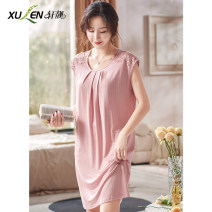 Nightdress Xuan Liang 61300 light powder 61300 bean green 61300 Rouge powder 61300 fog cyan 1 2 3 4 5 6 2XL 3XL M L XL Sweet Sleeveless pajamas Middle-skirt summer youth Crew neck lace 61% (inclusive) - 80% (inclusive) Modal fabric 61300 light powder Summer 2021 Pure e-commerce (online only)