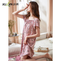 Nightdress Xuan Liang 61413 Dousha purple 61413 light blue 61413 fog blue 1 2 3 4 5 6 2XL 3XL M L XL Sweet Short sleeve Leisure home Middle-skirt summer Plants and flowers youth Crew neck cotton printing 81% (inclusive) - 95% (inclusive) lycra  Summer 2021 Pure e-commerce (online only)