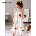 Nightdress Xuan Liang Simplicity camisole Middle-skirt Leisure home summer youth Straight collar cotton printing 81% (inclusive) - 95% (inclusive) lycra  W40830 shallow lake green Summer 2021 Cotton 95% polyurethane elastic fiber (spandex) 5% Pure e-commerce (online sales only) M L XL XXL