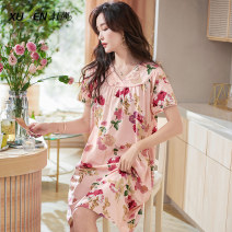 Nightdress Xuan Liang 61362 wanshafen 61362 YaHei 1 2 3 4 5 6 2XL 3XL M L XL Sweet Short sleeve pajamas Middle-skirt summer Plants and flowers youth V-neck cotton Mosaic decoration 81% (inclusive) - 95% (inclusive) Single side frame cotton 61362 late sand powder Summer 2021