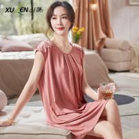 Nightdress Xuan Liang 2XL 3XL M L XL Sweet Sleeveless pajamas Middle-skirt summer Solid color youth Crew neck lace 61% (inclusive) - 80% (inclusive) Modal fabric 61300 Rouge powder Summer 2021 Modal fiber (modal) 72.9% polyester fiber 20.4% polyurethane elastic fiber (spandex) 6.7%