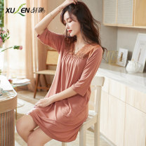 Nightdress Xuan Liang 61390 fog orange 61390 peach yellow 61390 bean paste 81050 bean green 81050 light blue 81050 fog blue 81056 bean green 81056 fog blue M L XL 2XL 3XL Simplicity three quarter sleeve Leisure home Middle-skirt summer Solid color youth V-neck other lace Modal fabric 61390 fog orange