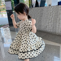 Dress Off white female Other / other Other 100% summer Korean version Short sleeve Dot nylon other M101 other 7 years old, 8 years old, 3 years old, 6 years old, 18 months old, 2 years old, 5 years old, 4 years old, 10 years old, 9 years old