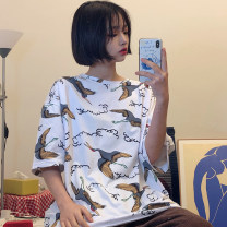 T-shirt White black M L XL 2XL Spring 2020 Short sleeve Crew neck easy Regular routine commute other 96% and above 18-24 years old Korean version originality Cartoon animation Love of Yi Sheng Xiang CZEF34850 printing Other 100% Pure e-commerce (online only)
