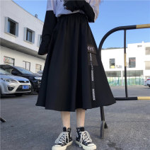 skirt Spring 2020 M L XL 2XL Black Khaki Mid length dress Retro High waist A-line skirt letter Type A 18-24 years old ztg33-0125 More than 95% brocade Love of Yi Sheng Xiang cotton pocket Cotton 100% Pure e-commerce (online only)